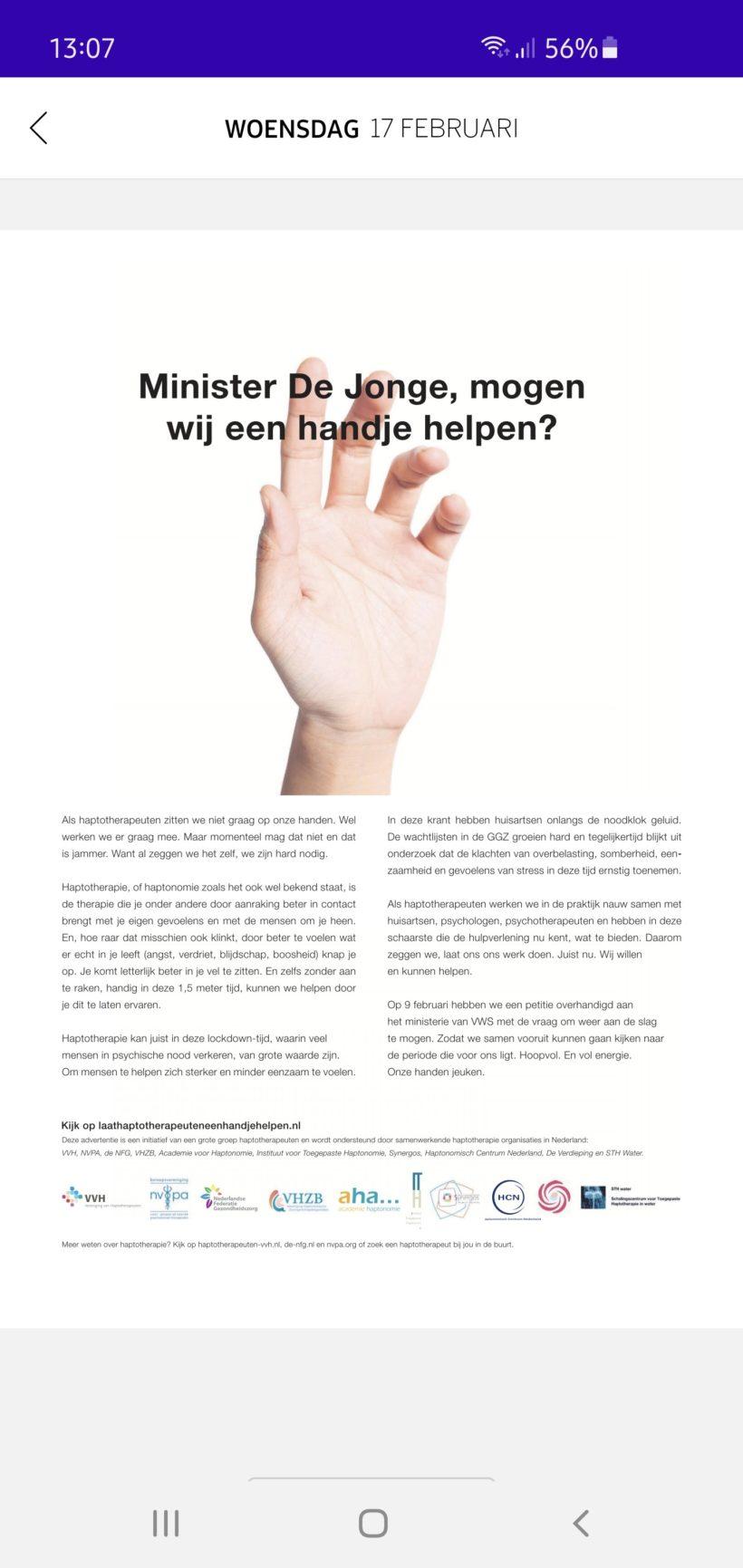 Haptotherapeuten willen helpen